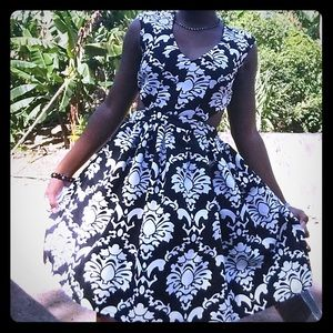 Dresses & Skirts - Formal Black & White Dress w/ Side Cut Outs